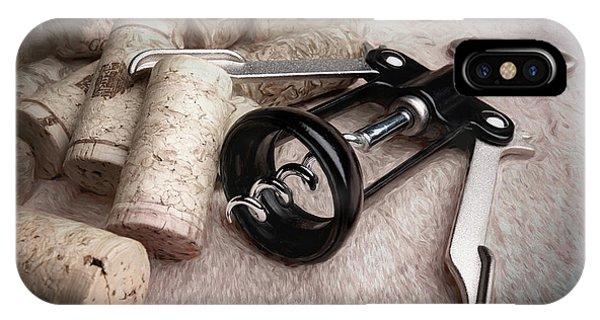 Vino iPhone Case - Corkscrew Wine Corks Still Life by Tom Mc Nemar