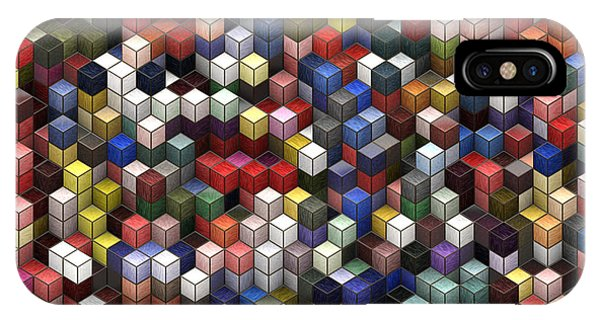 Visual Illusion iPhone Case - Cororful Cubes 2 by Jack Zulli