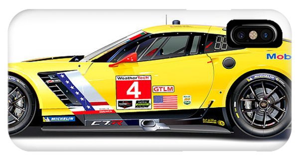 1 iPhone Case - Corvette C7.r Lm Illustration by Alain Jamar