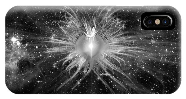 Cosmic Heart Of The Universe Bw IPhone Case