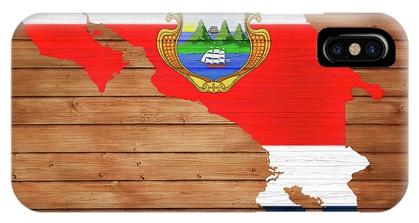 Traveler iPhone Case - Costa Rica Rustic Map On Wood by Dan Sproul