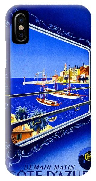 Cote D'azur Vintage Poster Restored IPhone Case