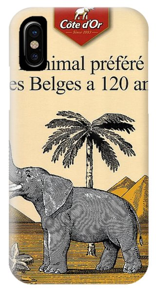 Advertising iPhone Case - Cote D'or Chocolate - Belgian Chocolate - Elephant Near The Egyptian Pyramids - Vintage Poster by Studio Grafiikka