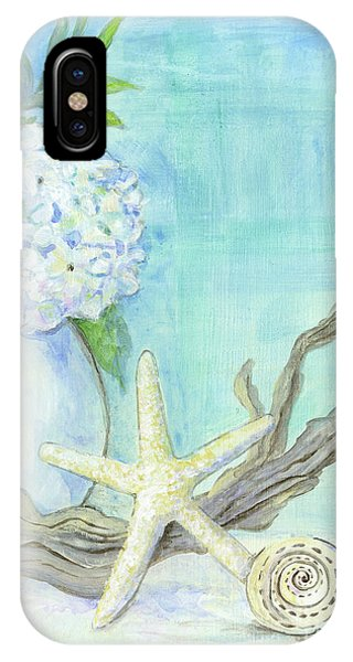 Cottage At The Shore 1 White Hydrangea Bouquet W Driftwood Starfish Sea Glass And Seashell IPhone Case