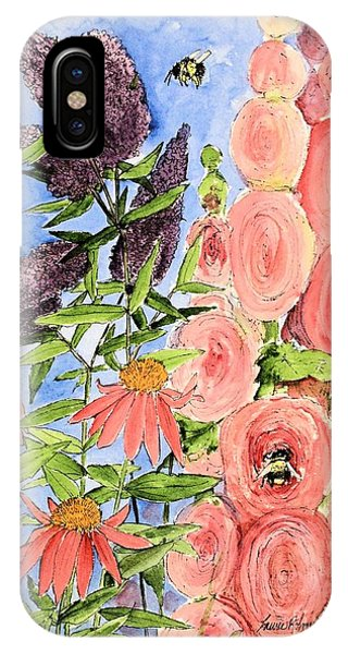 Cottage Garden Hollyhock Bees Blue Skie IPhone Case