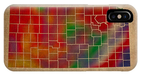 Counties Of Kansas Colorful Vibrant Watercolor State Map On Old Canvas IPhone Case