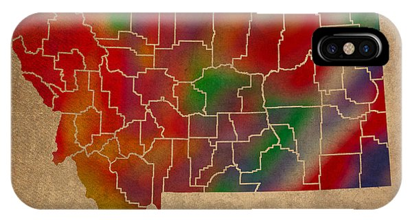 Counties Of Montana Colorful Vibrant Watercolor State Map On Old Canvas IPhone Case