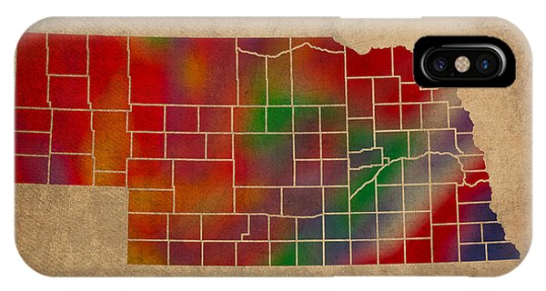 Counties Of Nebraska Colorful Vibrant Watercolor State Map On Old Canvas IPhone Case