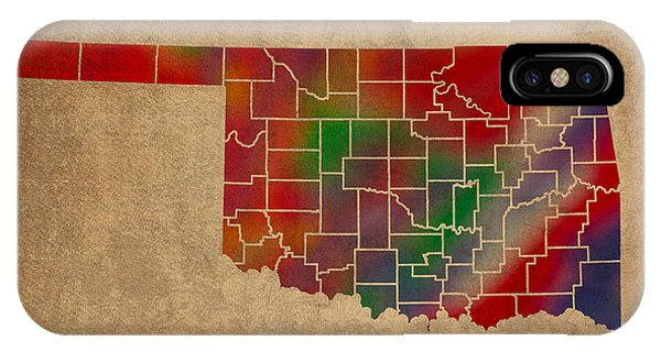 Counties Of Oklahoma Colorful Vibrant Watercolor State Map On Old Canvas IPhone Case