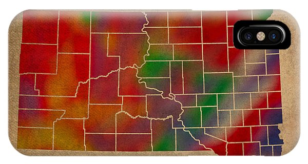 Counties Of South Dakota Colorful Vibrant Watercolor State Map On Old Canvas IPhone Case