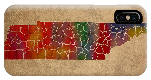Counties Of Tennessee Colorful Vibrant Watercolor State Map On Old Canvas IPhone Case