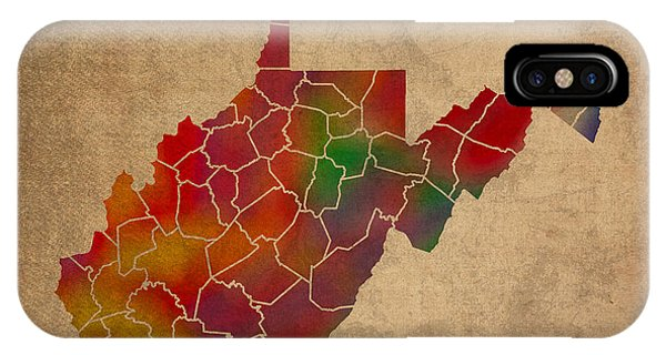 Counties Of West Virginia Colorful Vibrant Watercolor State Map On Old Canvas IPhone Case
