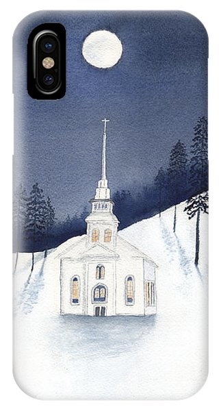 Country Church In Moonlight 2, Silent Night IPhone Case