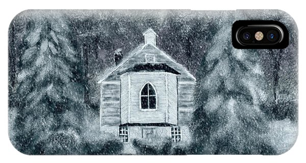 Country Church On A Snowy Night IPhone Case