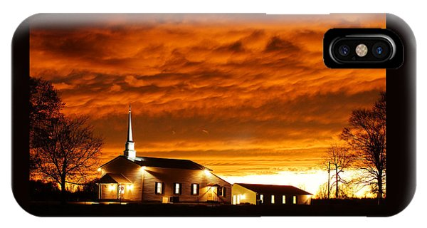 Country Church Sundown Phone Case by Keith Bridgman