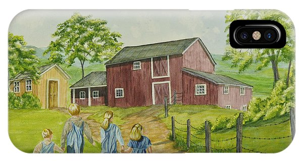 New England Barn iPhone Case - Country Kids by Charlotte Blanchard