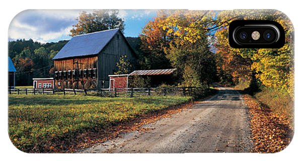 New England Barn iPhone Case - Country Road Along A Farm, Vermont, New by Panoramic Images