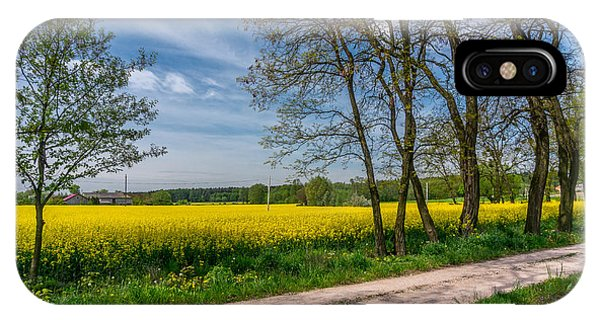 Country Road In The Rapeseed Field IPhone Case