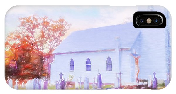 Country White Church And Old Cemetery. IPhone Case
