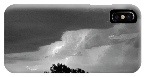 County Line Northern Colorado Lightning Storm Bw IPhone Case