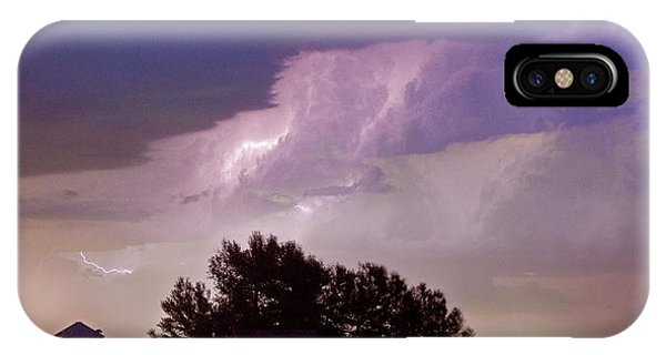 County Line Northern Colorado Lightning Storm Panorama IPhone Case