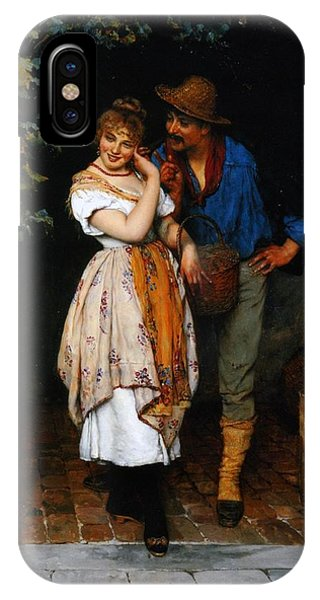 Couple iPhone Case - Couple Courting by Eugen von Blaas