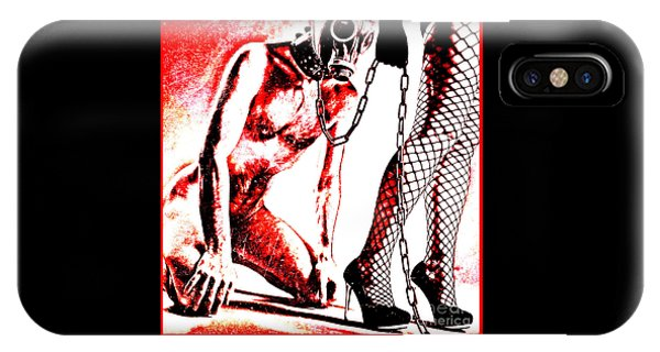 Couple Nude In Bdsm Play And Image Finished In Digital Dots Art  IPhone Case
