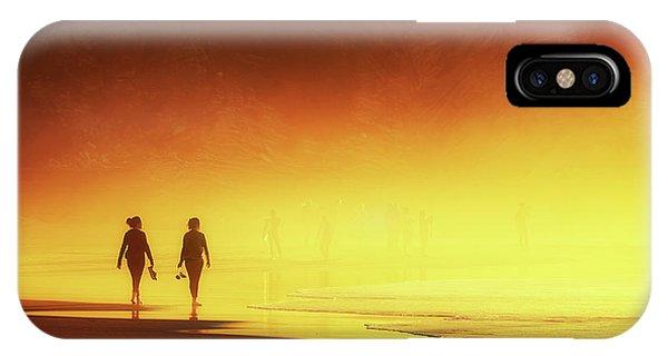 Couple Of Women Walking On Beach IPhone Case
