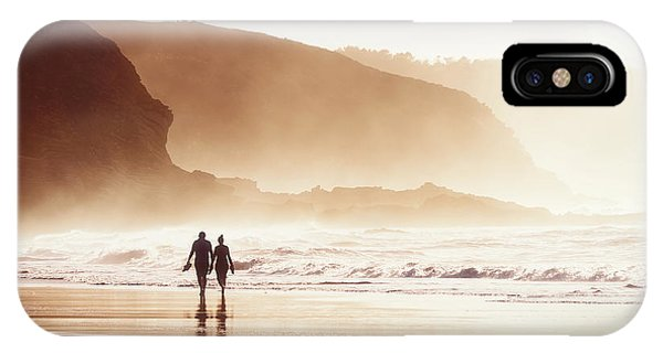 Couple Walking On Beach With Fog IPhone Case