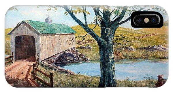 Covered Bridge, Americana, Folk Art IPhone Case