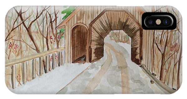 IPhone Case featuring the painting Covered Bridge by Denise Tomasura