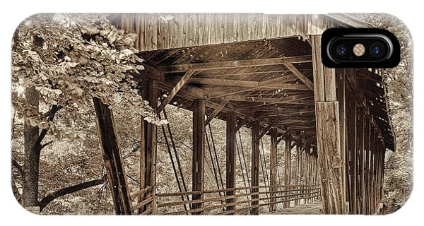 Covered Bridge iPhone Case - Covered Bridge  Sepia Tone by Mindy Sommers