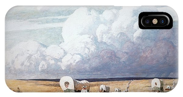 Weather iPhone Case - Covered Wagons Heading West by Newell Convers Wyeth