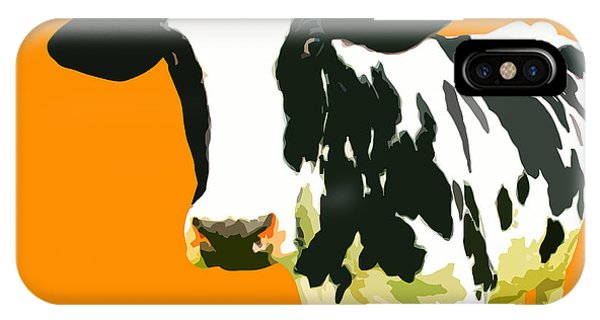 Cow iPhone X / XS Case - Cow In Orange World by Peter Oconor
