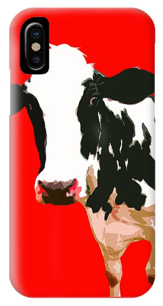 Cow iPhone X / XS Case - Cow In Red World by Peter Oconor