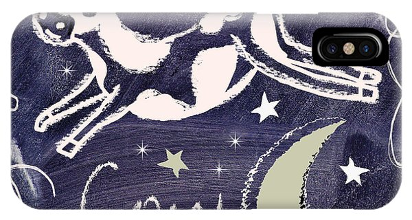Cow iPhone X / XS Case - Cow Jumped Over The Moon Chalkboard Art by Mindy Sommers