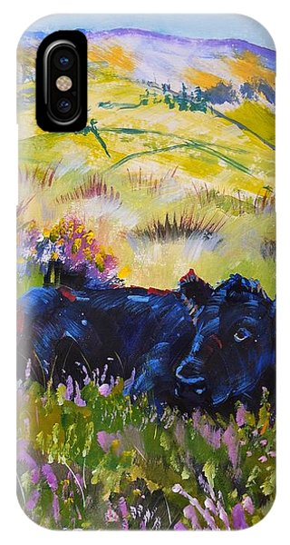 Cow Lying Down Among Plants IPhone Case