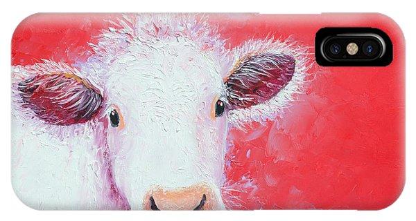 Cow Painting - Charolais IPhone Case
