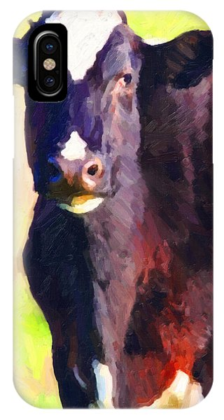 IPhone Case featuring the photograph Cow Stare 2 . Photoart by Wingsdomain Art and Photography