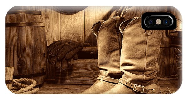 Cowboy Boots In A Ranch Barn IPhone Case