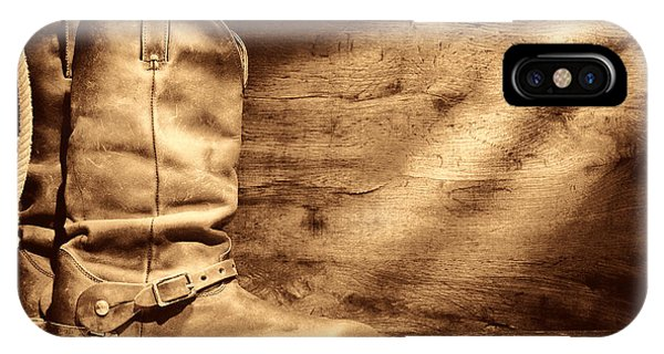 Cowboy Boots On Wood Floor IPhone Case