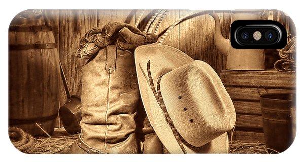 Cowboy Gear In Barn IPhone Case