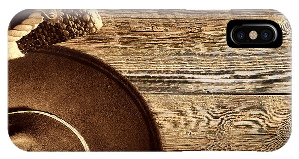 Cowboy Hat And Gear On Wood IPhone Case