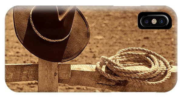Cowboy Hat And Rope On A Fence IPhone Case