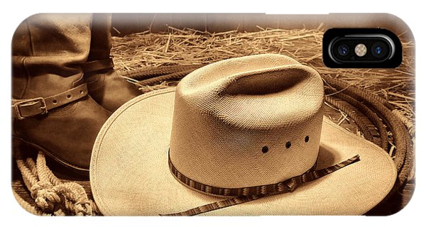 Cowboy Hat On Barn Floor IPhone Case