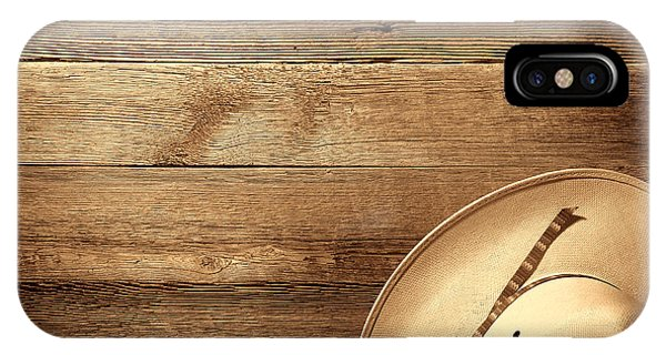 Cowboy Hat On Wood Table IPhone Case