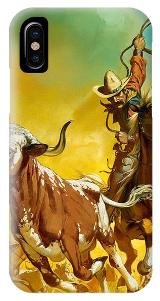 University iPhone Case - Cowboy Lassoing Cattle  by Angus McBride