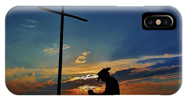 Old Rugged Cross iPhone Case - Cowboy Prayer At The Old Rugged Cross by Greg Rud