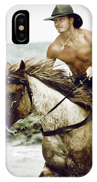 Cowboy Riding Horse On The Beach IPhone Case