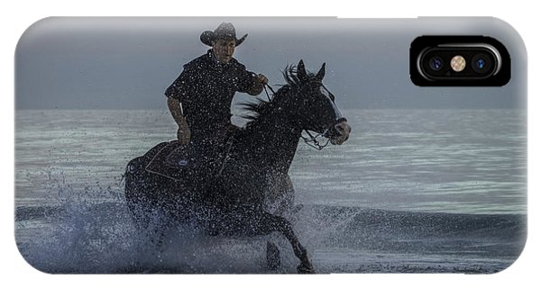 Cowboy Riding In The Surf IPhone Case